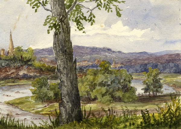 View from Roxburgh Castle - Original mid-19th-century watercolour painting