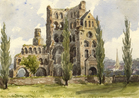 Kelso Abbey, Scotland - Original mid-19th-century watercolour painting