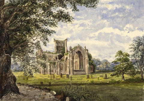 Melrose Abbey from Friar's Walk - Original mid-19th-century watercolour painting