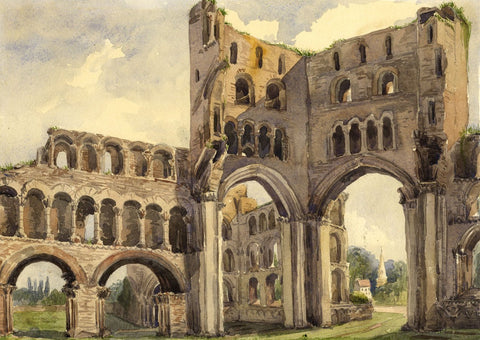 Kelso Abbey Interior, Scotland - Original mid-19th-century watercolour painting