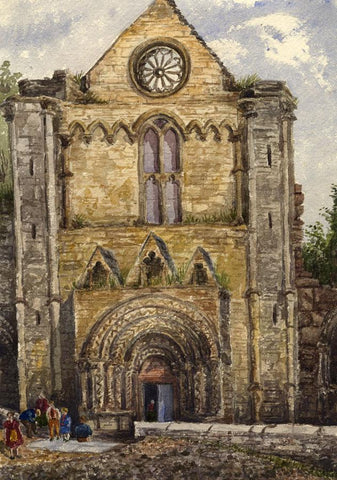 West Front, Jedburgh Abbey - Original mid-19th-century watercolour painting