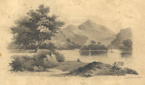 Loch Lomond, Scotland - Original mid-19th-century graphite drawing