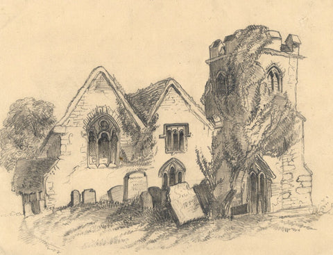 M.A. Saunders, Ruined Church - Original mid-19th-century graphite drawing