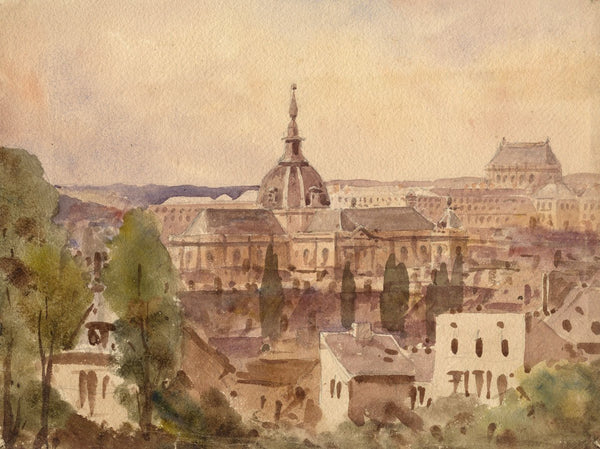 J.L. Petit, Rooftops of Versailles - Mid-19th-century watercolour painting