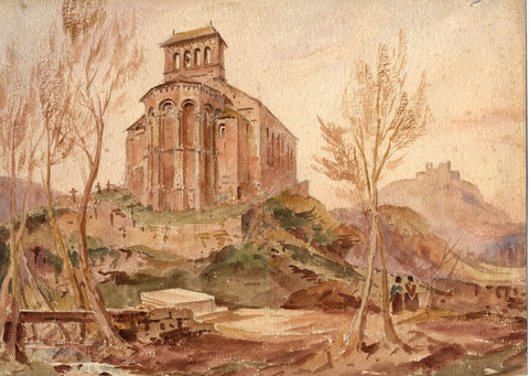 J.L. Petit, Eglise de Perse Church, Espaliou, France - 1861 watercolour painting