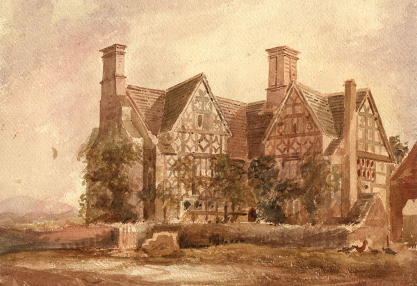 Amelia Reid, Manor House, Southam, Cheltenham - Mid-19th-century watercolour