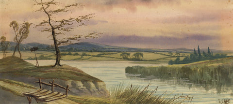 Edwin Earp, Lake Scene with Trees - Late 19th-century watercolour painting