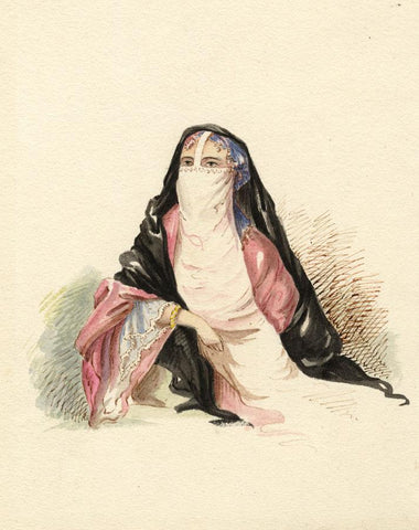 E.J.S., Veiled Woman in Harem - Original mid-19th-century watercolour painting