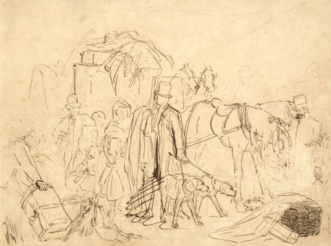 Circle of Edwin Landseer, Stagecoach Scene - Mid-19th-century pen & ink drawing