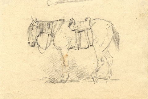 Horse with Saddle Study - Original mid-19th-century graphite drawing