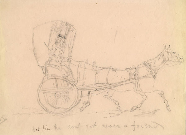 Horse and Trap Carriage - Original early 19th-century graphite drawing