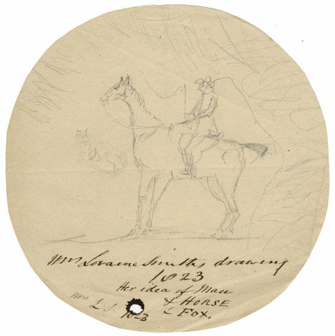 Isabella Loraine-Smith, Rider, Horse and Fox - Original 1823 graphite drawing