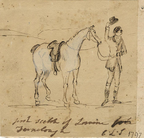 Charles Loraine-Smith, Loraine with Horse - Original 1797 pen & ink drawing