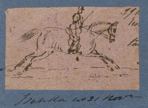 Isabella Loraine-Smith, Galloping Horse with Rider - 1831 pen & ink drawing