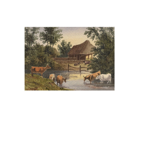 William James Müller, Cows in Miniature - Mid-19th-century watercolour painting