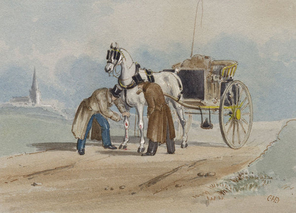 Charles Cooper Henderson, Injured Carriage Horse - Mid-19th-century watercolour