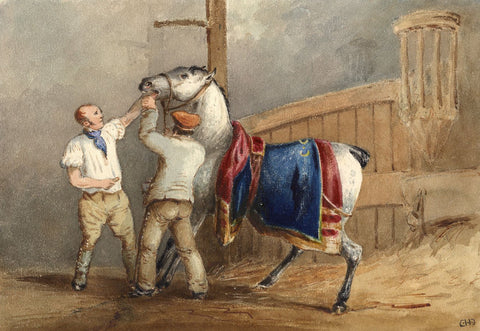 Charles Cooper Henderson, The Racehorse - Mid-19th-century watercolour painting
