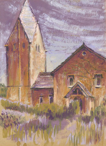 D. Clarke, Church with Pointed Tower - Original 1960s gouache painting