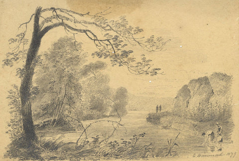 E. Hammond, Washerwomen at the River, Kilcommon - Original 1879 graphite drawing