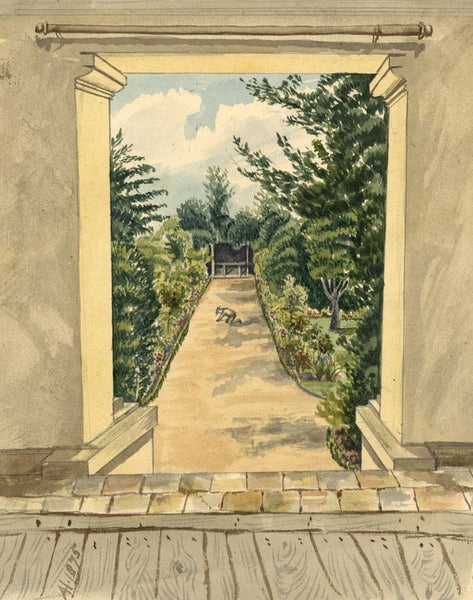 Albert A. Harcourt, Garden View, Newport Pagnell - 1875 watercolour painting