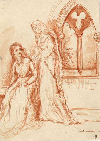 C.F.W., Nun Attending to her Charge -Original late 19th-century sanguine drawing