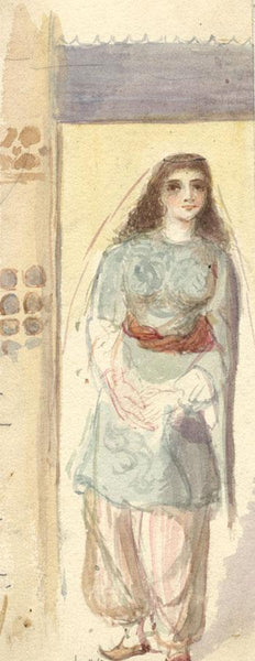 Albert A. Harcourt, Woman in Costume - Late 19th-century watercolour painting