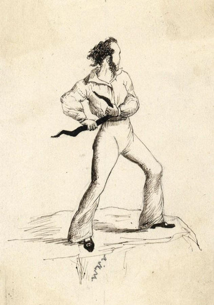 Albert A. Harcourt, A Sailor in Motion - Late 19th-century pen & ink drawing