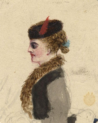Albert A. Harcourt, Woman in Furs - Late 19th-century watercolour painting
