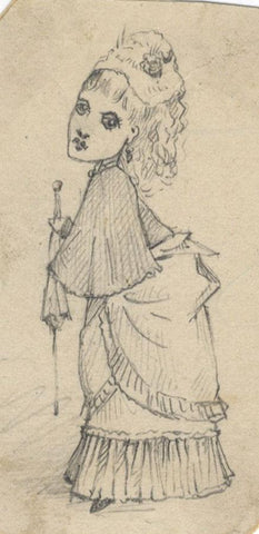 Albert A. Harcourt, Lady Caricature -Original late 19th-century graphite drawing