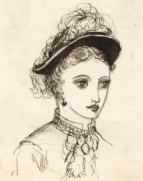 Albert A. Harcourt, Female Portrait Study - Late 19th-century pen & ink drawing