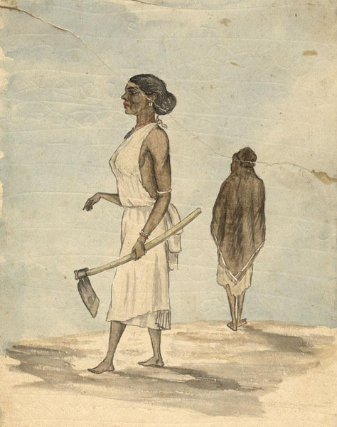 Albert A. Harcourt, Native Woman with Axe-Late 19th-century watercolour painting