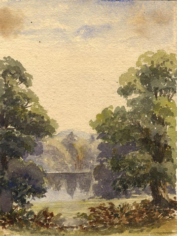 View towards Highdown Hill, Worthing - Original 1861 watercolour painting