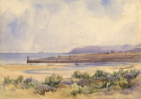 Boats Docked at a Beach Inlet - Original late 19th-century watercolour painting