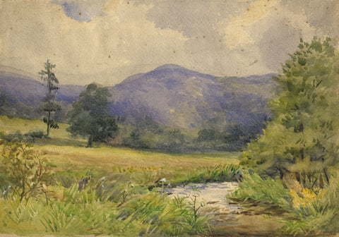 D. de Winton, Winding River, Radnorshire, Wales - 1914 watercolour painting