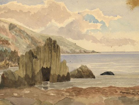 Coastal Rock Formations - Original late 19th-century watercolour painting