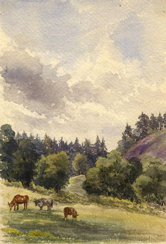 Cows on Wagden Common, Hampton, Surrey - Original 1865 watercolour painting