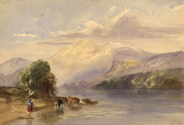 A.F., Milkmaid and Cows at a Mountain Lake - Original 1842 watercolour painting