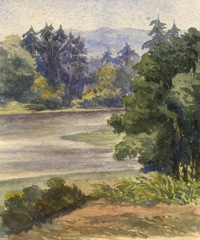 Trees at the Trout Pond, Hampton, Surrey - Original 1869 watercolour painting