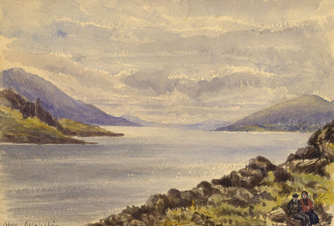 The Bay at Oban, Scotland - Original late 19th-century watercolour painting