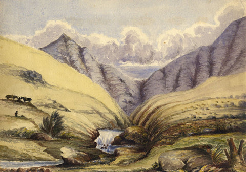 Mountain River Waterfall - Original late 19th-century watercolour painting