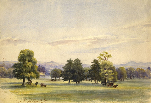 Grazing Cows, Hampton, Surrey - Original late 19th-century watercolour painting