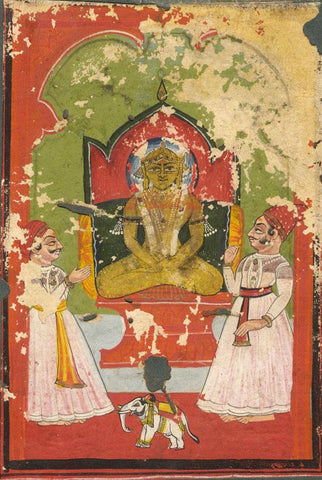 Jain Devotional Image of Ajita -Original 17th-century Indian manuscript painting
