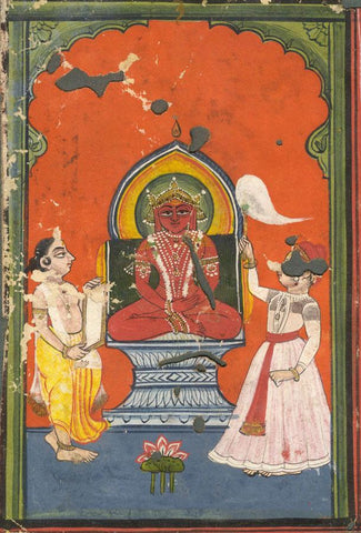 Jain Devotional Image of Padmaprabha - 17th-century Indian manuscript painting