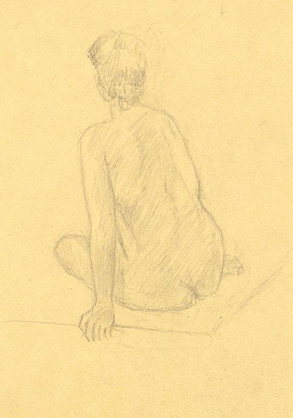 Female Nude Studies on Two Sheets - Original early 20th-century graphite drawing