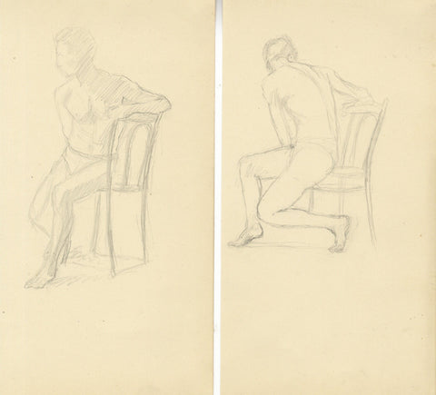 Male Figure in Chair Studies on Two Sheets - 20th-century graphite drawings