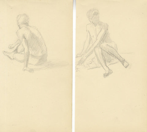 Seated Male Figure Studies on Two Sheets - early 20th-century graphite drawings