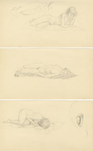 Sleeping Female Nude Studies on Three Sheets - 20th-century graphite drawings