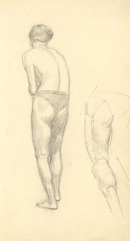 Male Figure Study from Back - Original early 20th-century graphite drawing