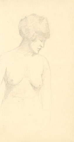 Nude Female Torso Study - Original early 20th-century graphite drawing