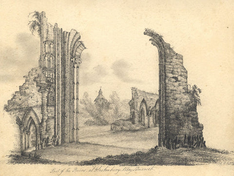 F.G.A., Glastonbury Abbey Ruins - Original mid-19th-century graphite drawing